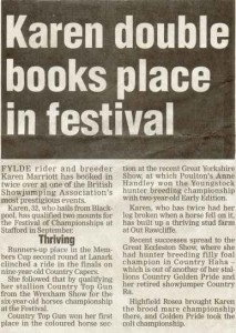 Karen Double books place in Festival